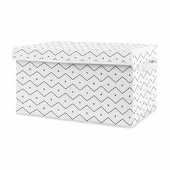 Grey Chevron Boy Small Fabric Toy Bin Storage Box Chest For Baby Nursery or Kids Room by Sweet Jojo Designs - Gray and White Mod Dino Prehistoric Print for Blue and Green Modern Dinosaur Collection