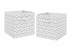 Grey Chevron Foldable Fabric Storage Cube Bins Boxes Organizer Toys Kids Baby Childrens by Sweet Jojo Designs - Set of 2 - Gray and White Mod Dino Prehistoric Print for Blue and Green Modern Dinosaur Collection