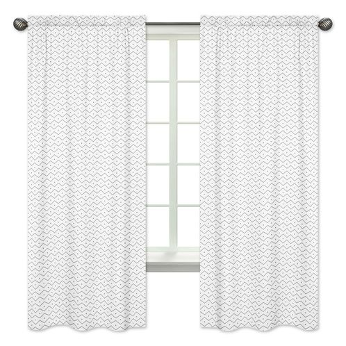 Grey Chevron Prehistoric Print Window Treatment Panels for Blue and Green Mod Dinosaur Collection - Set of 2 - Click to enlarge