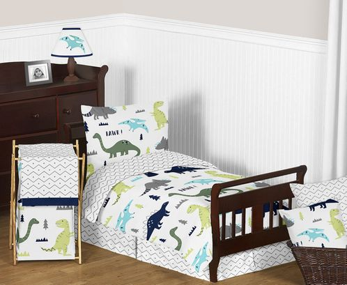 Blue and Green Mod Dinosaur Boy or Girl Toddler Bedding - 5pc Set by Sweet Jojo Designs - Click to enlarge
