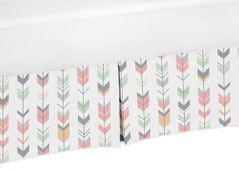 Grey, Coral and Mint Crib Bed Skirt for Woodland Arrow Baby Bedding Sets by Sweet Jojo Designs