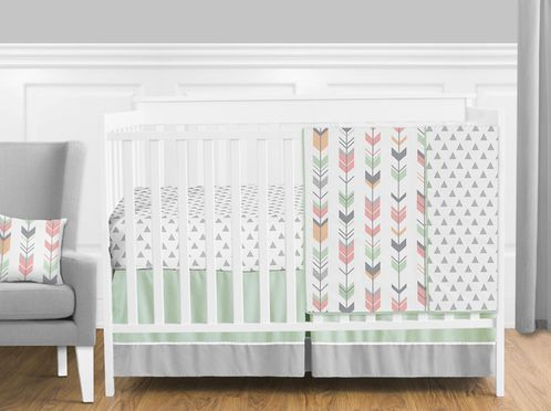 Grey, Coral and Mint Woodland Arrow Baby Bedding - 11pc Girls Crib Set by Sweet Jojo Designs - Click to enlarge