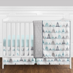 4 pc. Navy Blue, Aqua and Grey Aztec Mountains Baby Boy or Girl Unisex Crib Bedding Set without Bumper by Sweet Jojo Designs