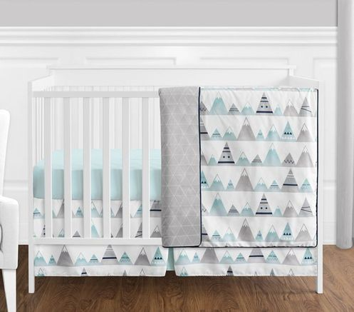 4 pc. Navy Blue, Aqua and Grey Aztec Mountains Baby Boy or Girl Unisex Crib Bedding Set without Bumper by Sweet Jojo Designs - Click to enlarge