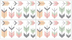 Grey, Coral and Mint Woodland Arrow Peel and Stick Wall Decal Stickers Art Nursery Decor by Sweet Jojo Designs - Set of 4 Sheets
