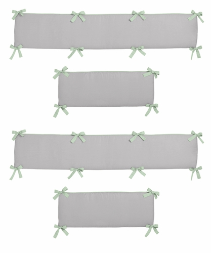 Grey, Coral and Mint Woodland Arrow Baby Crib Bumper Pad by