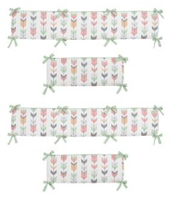 Grey, Coral and Mint Woodland Arrow Baby Crib Bumper Pad by Sweet Jojo Designs