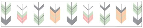 Grey, Coral and Mint Woodland Arrow Childrens and Kids Modern Wall Paper Border by Sweet Jojo Designs - Click to enlarge
