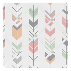 Grey, Coral and Mint Woodland Arrow Fabric Memory/Memo Photo Bulletin Board by Sweet Jojo Designs