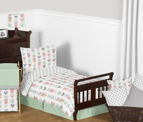 Grey, Coral and Mint Woodland Arrow Girls Toddler Bedding - 5pc Set by Sweet Jojo Designs - Click to enlarge