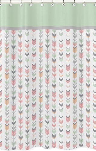 Grey, Coral and Mint Woodland Arrow Kids Bathroom Fabric Bath Shower Curtain by Sweet Jojo Designs - Click to enlarge