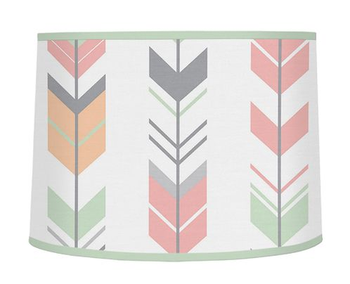 Grey, Coral and Mint Woodland Arrow Lamp Shade by Sweet Jojo Designs - Click to enlarge