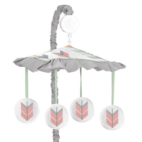 Grey, Coral and Mint Woodland Arrow Musical Baby Crib Mobile by Sweet Jojo Designs - Click to enlarge