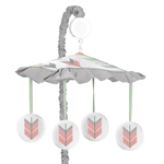 Grey, Coral and Mint Woodland Arrow Musical Baby Crib Mobile by Sweet Jojo Designs