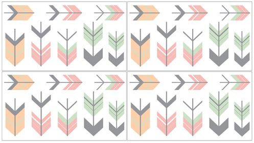 Grey, Coral and Mint Woodland Arrow Peel and Stick Wall Decal Stickers Art Nursery Decor by Sweet Jojo Designs - Set of 4 Sheets - Click to enlarge