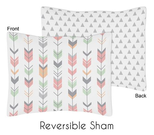 Grey, Coral and Mint Woodland Arrow Pillow Sham by Sweet Jojo Designs by Sweet Jojo Designs - Click to enlarge
