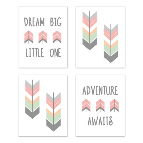 Grey, Coral and Mint Woodland Arrow Wall Art Prints Room Decor for Baby, Nursery, and Kids for Mod Arrow Collection by Sweet Jojo Designs - Set of 4 - Dream Big Little One - Click to enlarge