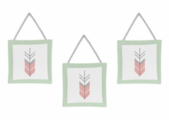 Grey, Coral and Mint Woodland Arrow Wall Hanging Accessories by Sweet Jojo Designs