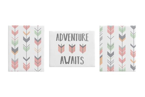 Grey, Coral and Mint Woodland Wall Art Room Decor Hangings for Baby, Nursery, Kids and Childrens Mod Arrow Collection by Sweet Jojo Designs - Set of 3 - Click to enlarge