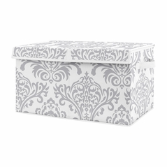 Grey Damask Girl Small Fabric Toy Bin Storage Box Chest For Baby Nursery or Kids Room by Sweet Jojo Designs - Gray and White for Pink and Turquoise Skylar Collection