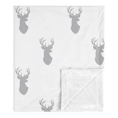 Grey Deer Baby Boy Receiving Security Swaddle Blanket for Newborn or Toddler Nursery Car Seat Stroller Soft Minky by Sweet Jojo Designs - Gray and White Woodland Forest Animal Stag Antler