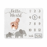 Grey Elephant Girl Milestone Blanket Monthly Newborn First Year Growth Mat Baby Shower Memory Keepsake Gift Picture by Sweet Jojo Designs - Watercolor Safari Animal for Blush Pink and Gray Collection Hello World