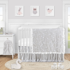 Grey Floral Vintage Lace Baby Girl Nursery Crib Bedding Set by Sweet Jojo Designs - 4 pieces - Solid Light Gray Silver Crinkle Crushed Velvet Luxurious Elegant Princess Boho Shabby Chic Luxury Glam Flower High End Boutique Ruffle