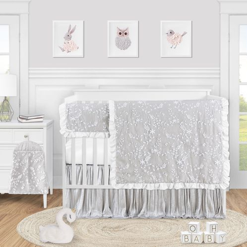 Grey Floral Vintage Lace Baby Girl Nursery Crib Bedding Set by Sweet Jojo Designs - 5 pieces - Solid Light Gray Silver Crinkle Crushed Velvet Luxurious Elegant Princess Boho Shabby Chic Luxury Glam Flower High End Boutique Ruffle - Click to enlarge