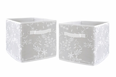 Grey Floral Vintage Lace Foldable Fabric Storage Cube Bins Boxes Organizer Toys Kids Baby Childrens by Sweet Jojo Designs - Set of 2 - Solid Light Gray Silver Luxurious Elegant Princess Boho Shabby Chic Luxury Glam Flower High End Boutique