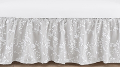 Grey Floral Vintage Lace Girl Baby Nursery Crib Bed Skirt Dust Ruffle by Sweet Jojo Designs - Solid Light Gray Silver Luxurious Elegant Princess Boho Shabby Chic Luxury Glam Flower High End Boutique