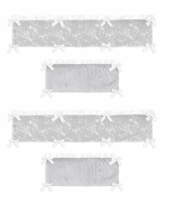 Grey Floral Vintage Lace Girl Baby Nursery Crib Bumper Pad by Sweet Jojo Designs - Solid Light Gray Silver Crinkle Crushed Velvet Luxurious Elegant Princess Boho Shabby Chic Luxury Glam Flower High End Boutique Ruffle