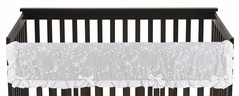 Grey Floral Vintage Lace Girl Long Front Crib Rail Guard Baby Teething Cover Protector Wrap by Sweet Jojo Designs - Solid Light Gray Silver Crinkle Crushed Velvet Luxurious Elegant Princess Boho Shabby Chic Luxury Glam Flower High End Boutique Ruffle