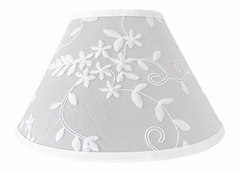 Grey Floral Vintage Lace Lamp Shade by Sweet Jojo Designs - Solid Light Gray Silver Luxurious Elegant Princess Boho Shabby Chic Luxury Glam Flower High End Boutique