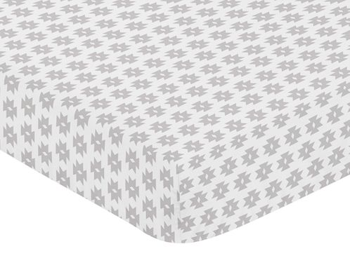 Grey Geometric Tribal Baby or Toddler Fitted Crib Sheet for Aztec Collection by Sweet Jojo Designs - Click to enlarge