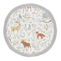 Grey, Green and Brown Playmat Tummy Time Baby and Infant Play Mat for Woodland Animal Toile Collection by Sweet Jojo Designs