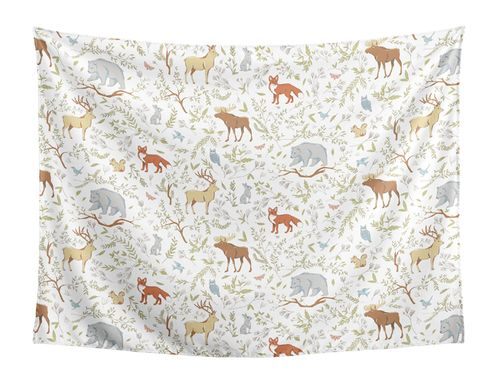 Grey, Green and Brown Wall Hanging Tapestry Art Decor for Woodland Animal Toile Collection by Sweet Jojo Designs - 60in. x 80in. - Click to enlarge