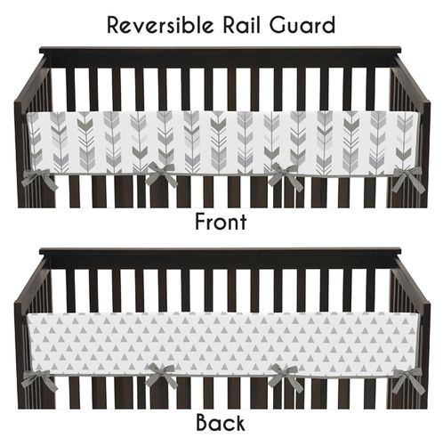Grey Long Front Crib Rail Guard Baby Teething Cover Protector for Woodland Arrow Collection by Sweet Jojo Designs - Click to enlarge
