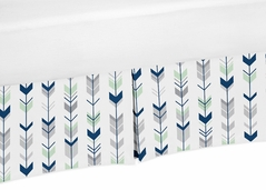 Grey, Navy and Mint Crib Bed Skirt for Woodland Arrow Baby Bedding Sets by Sweet Jojo Designs