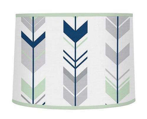 Grey, Navy Blue and Mint Woodland Arrow Lamp Shade by Sweet Jojo Designs - Click to enlarge
