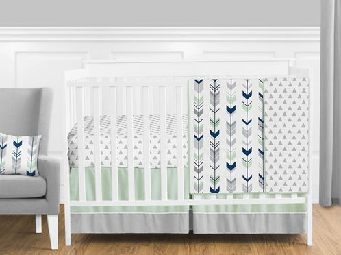 Grey, Navy Blue and Mint Woodland Arrow  Baby Bedding - 11pc Crib Set by Sweet Jojo Designs - Click to enlarge