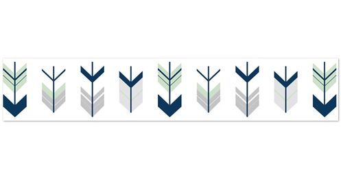 Grey, Navy Blue and Mint Woodland Arrow Childrens and Kids Modern Wall Paper Border by Sweet Jojo Designs - Click to enlarge