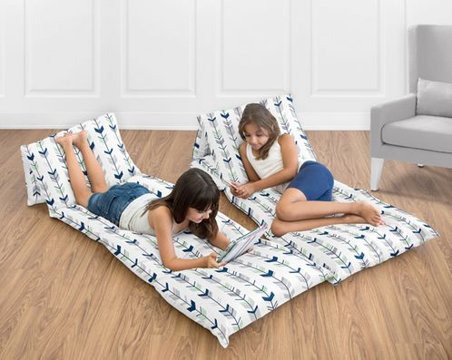 Grey, Navy Blue and Mint Woodland Arrow Collection Kids Teen Floor Pillow Case Lounger Cushion Cover by Sweet Jojo Designs - Click to enlarge