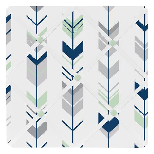 Grey, Navy Blue and Mint Woodland Arrow Fabric Memory/Memo Photo Bulletin Board by Sweet Jojo Designs - Click to enlarge