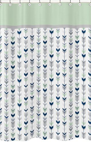 Grey, Navy Blue and Mint Woodland Arrow Kids Bathroom Fabric Bath Shower Curtain by Sweet Jojo Designs - Click to enlarge