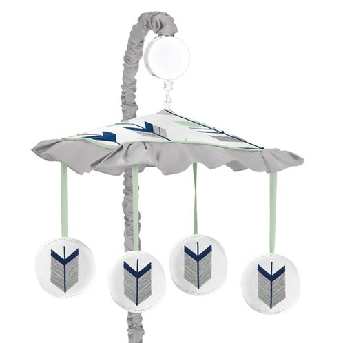Grey, Navy Blue and Mint Woodland Arrow Musical Baby Crib Mobile by Sweet Jojo Designs - Click to enlarge