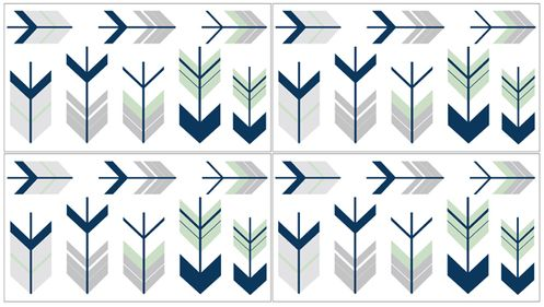 Grey, Navy Blue and Mint Woodland Arrow Peel and Stick Wall Decal Stickers Art Nursery Decor by Sweet Jojo Designs - Set of 4 Sheets - Click to enlarge