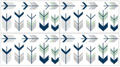 Grey, Navy Blue and Mint Woodland Arrow Peel and Stick Wall Decal Stickers Art Nursery Decor by Sweet Jojo Designs - Set of 4 Sheets