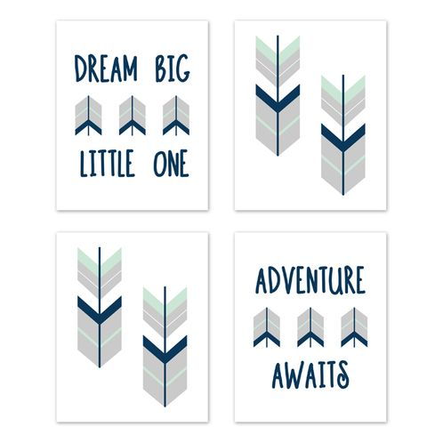 Grey, Navy Blue and Mint Woodland Arrow Wall Art Prints Room Decor for Baby, Nursery, and Kids for Mod Arrow Collection by Sweet Jojo Designs - Set of 4 - Dream Big Little One - Click to enlarge