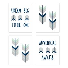 Grey, Navy Blue and Mint Woodland Arrow Wall Art Prints Room Decor for Baby, Nursery, and Kids for Mod Arrow Collection by Sweet Jojo Designs - Set of 4 - Dream Big Little One