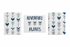 Grey, Navy Blue and Mint Woodland Arrow Wall Art Room Decor Hangings for Baby, Nursery, Kids and Childrens Woodsy Collection by Sweet Jojo Designs - Set of 3